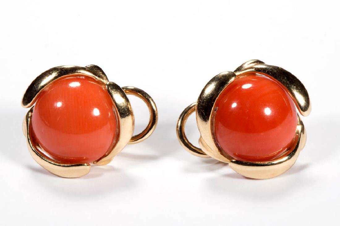 VINTAGE 14K GOLD AND CORAL PAIR OF PIERCED EARRINGS