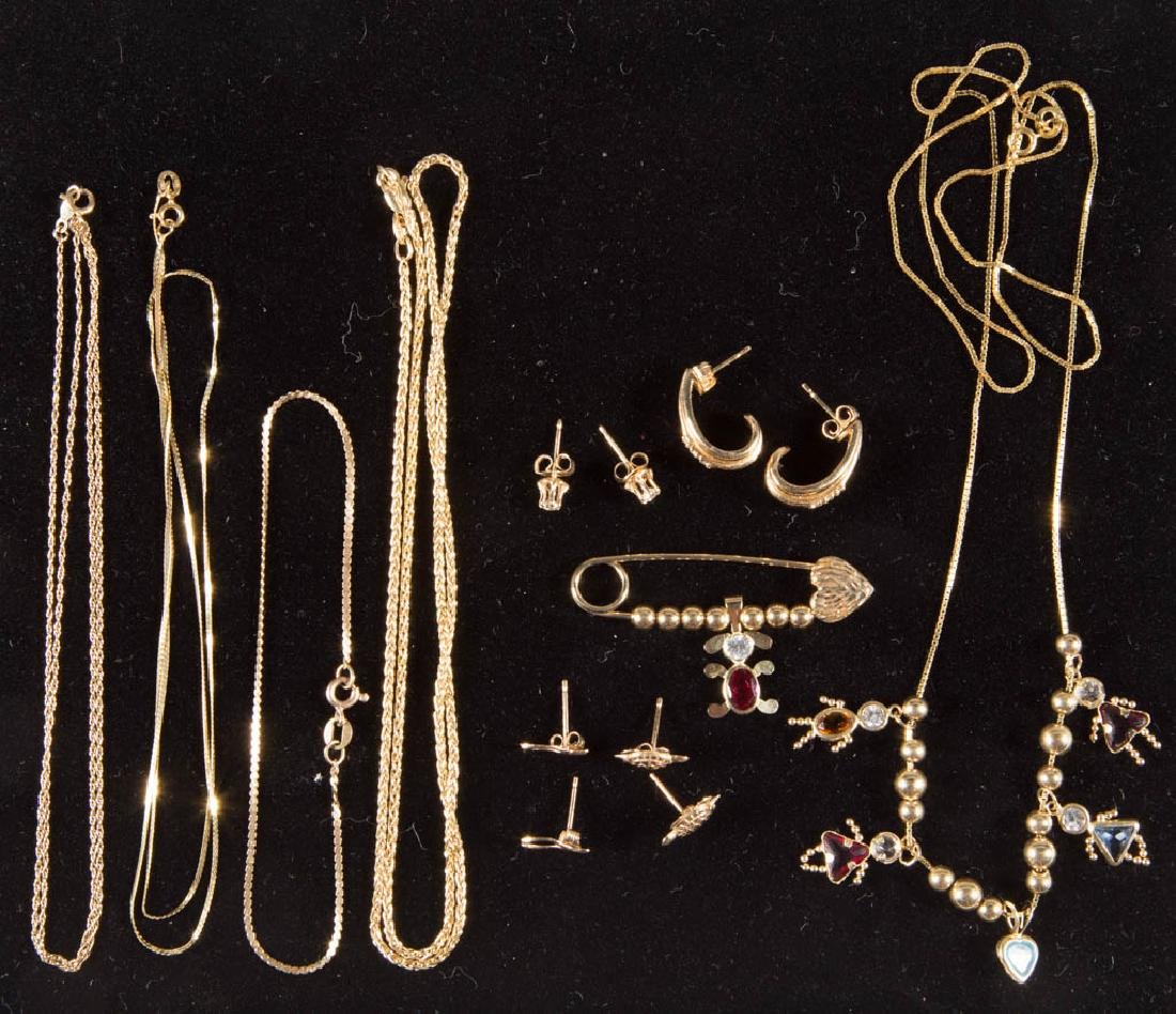 ASSORTED 14K GOLD JEWELRY, LOT OF 14 PIECES