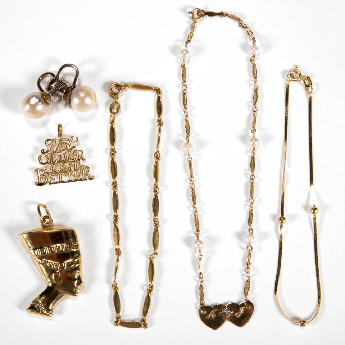 ASSORTED 18K AND 14K GOLD JEWELRY, LOT OF SEVEN PIECES