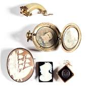 ANTIQUE / VICTORIAN GOLD-FILLED JEWELRY, LOT OF FOUR