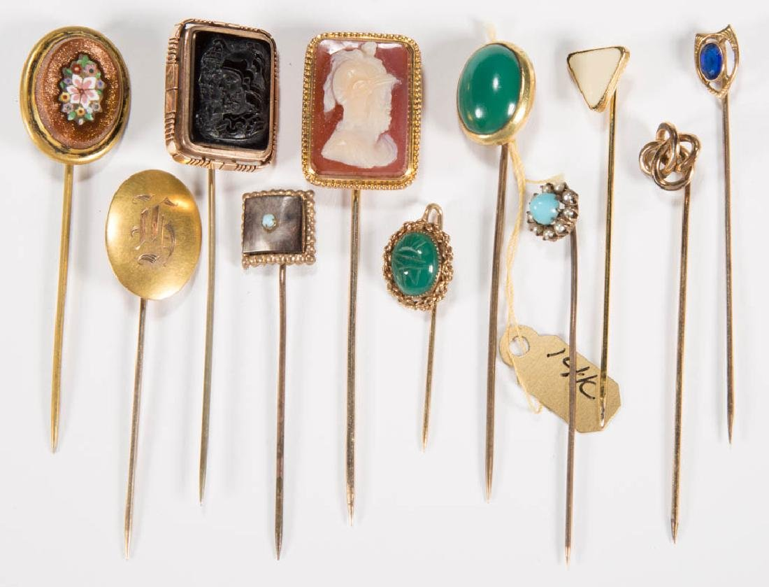 ANTIQUE GOLD AND OTHER STICK PINS, LOT OF 11