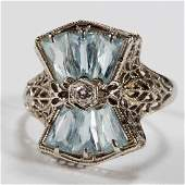 VINTAGE 14K WHITE GOLD DIAMOND AND AQUAMARINE LADYS