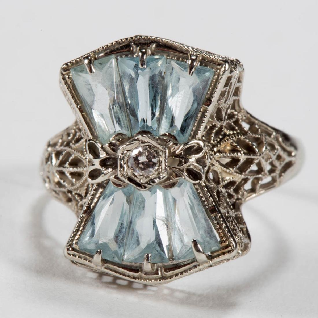 VINTAGE 14K WHITE GOLD, DIAMOND, AND AQUAMARINE LADY'S