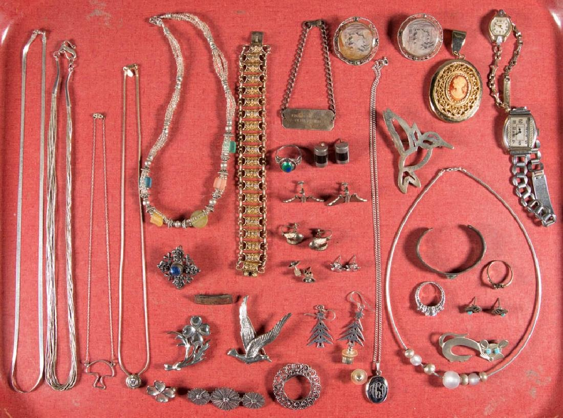 ASSORTED STERLING SILVER AND OTHER COSTUME JEWELRY, LOT