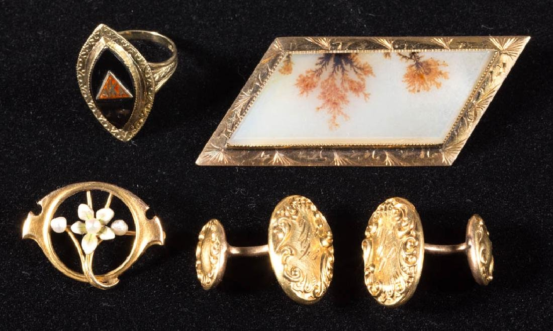 ASSORTED ANTIQUE 10K GOLD JEWELRY, LOT OF FIVE PIECES