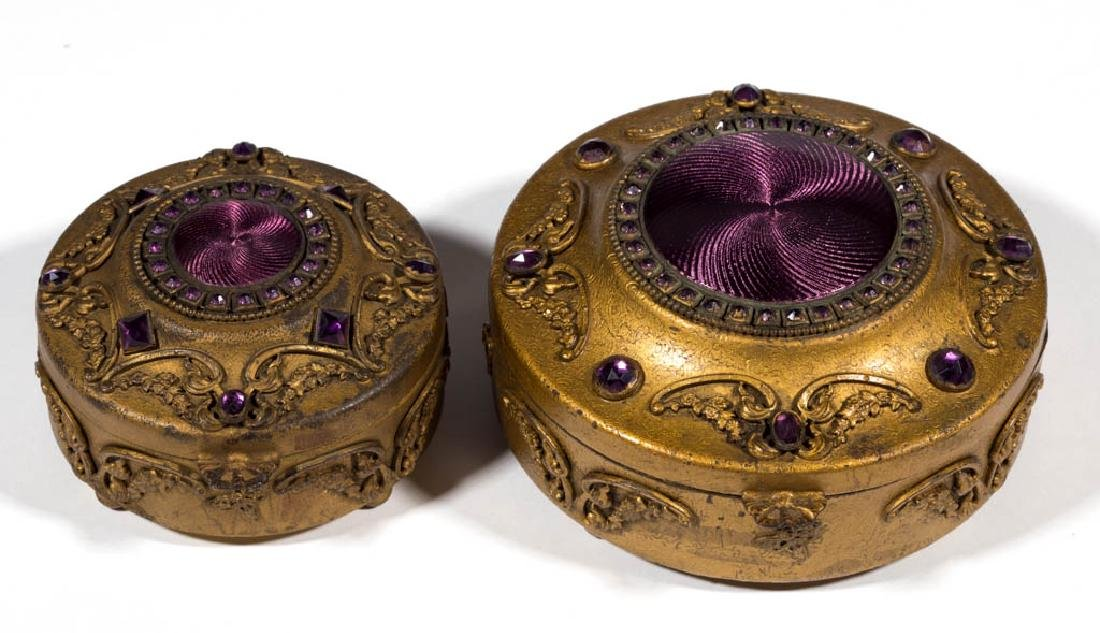 CONTINENTAL GILT-BRASS PAIR OF JEWEL BOXES