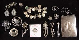 ASSORTED VINTAGE STERLING SILVER COSTUME JEWELRY, LOT