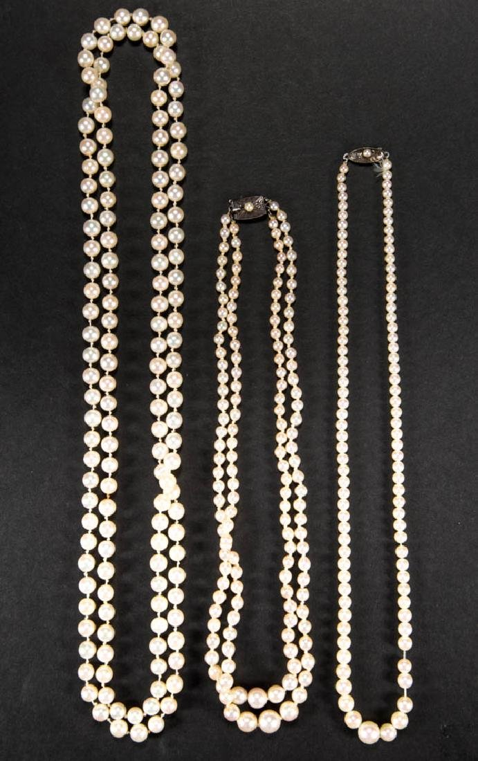 VINTAGE PEARL NECKLACES, LOT OF THREE