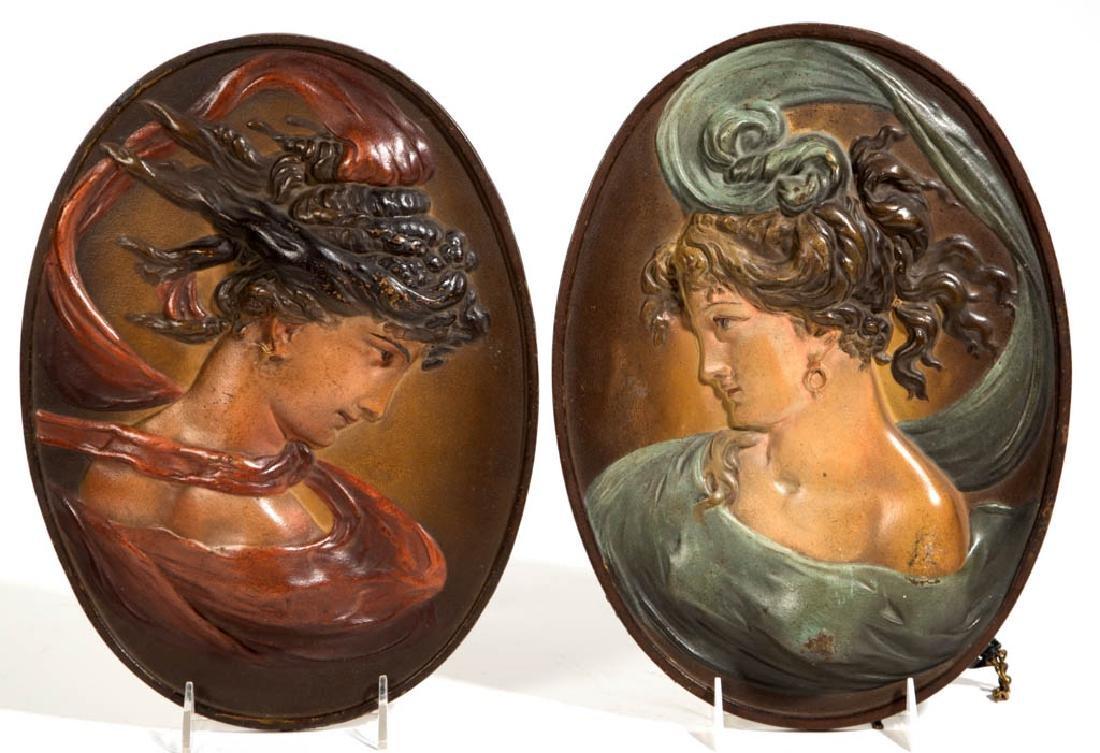 BRADLEY AND HUBBARD ART NOUVEAU CAST-IRON PAIR OF