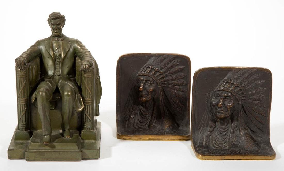 PAIR OF ARTS & CRAFTS FIGURAL BRONZE BOOKENDS