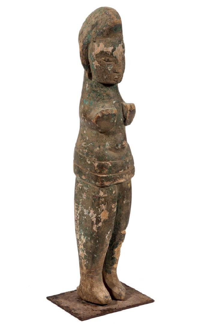 TRIBAL CARVED AND PAINTED WOOD STANDING FIGURE