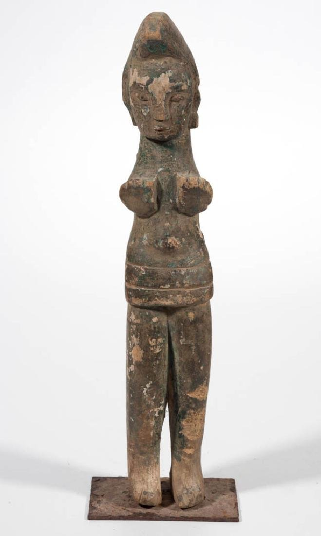 TRIBAL CARVED AND PAINTED WOOD STANDING FIGURE - 2