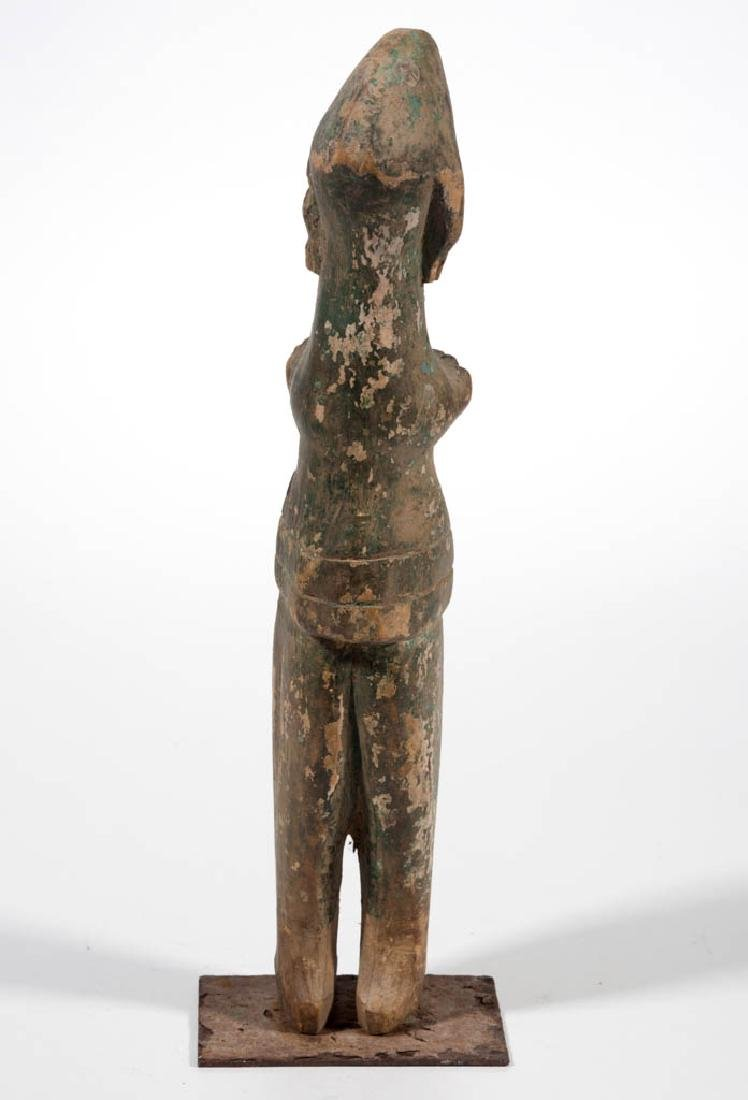 TRIBAL CARVED AND PAINTED WOOD STANDING FIGURE - 4