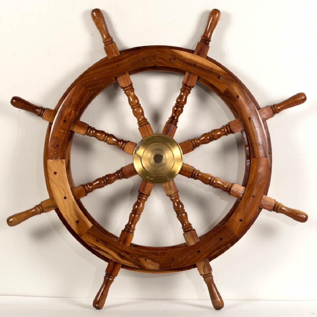 DECORATIVE WOOD AND BRASS SHIP'S WHEEL