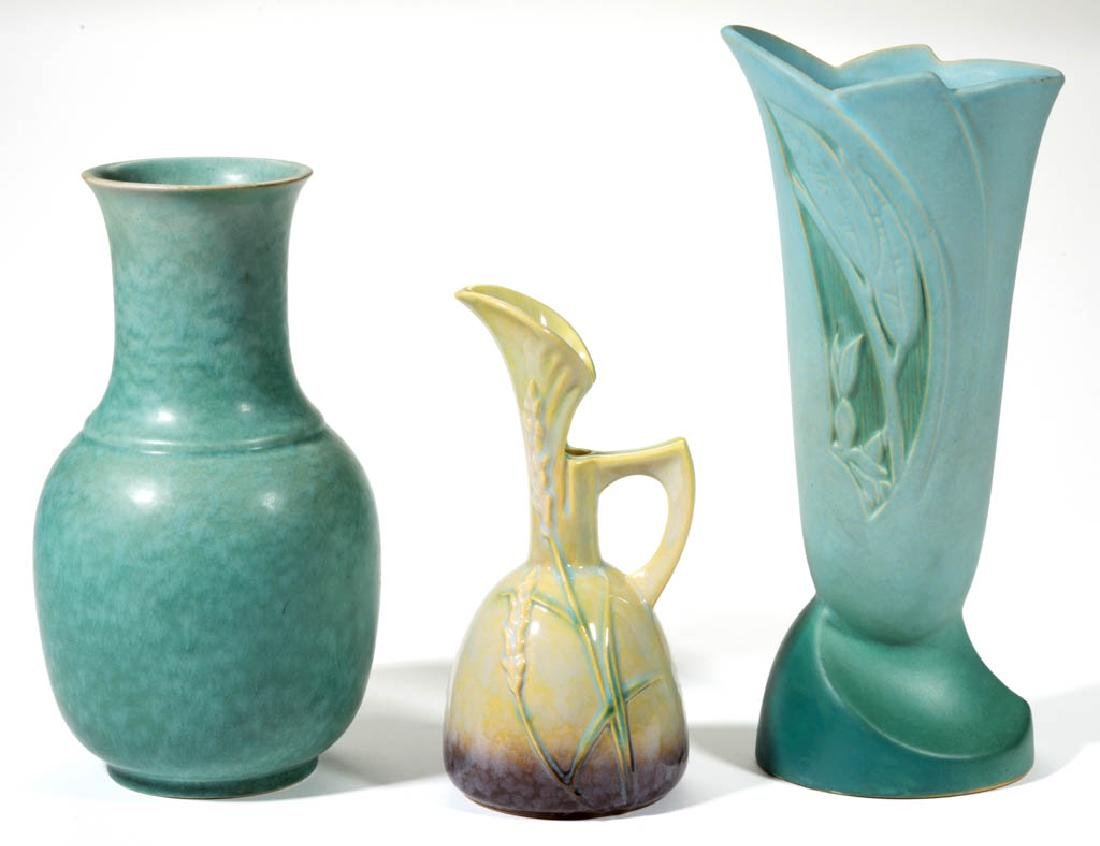 ROSEVILLE ART POTTERY ARTICLES, LOT OF THREE