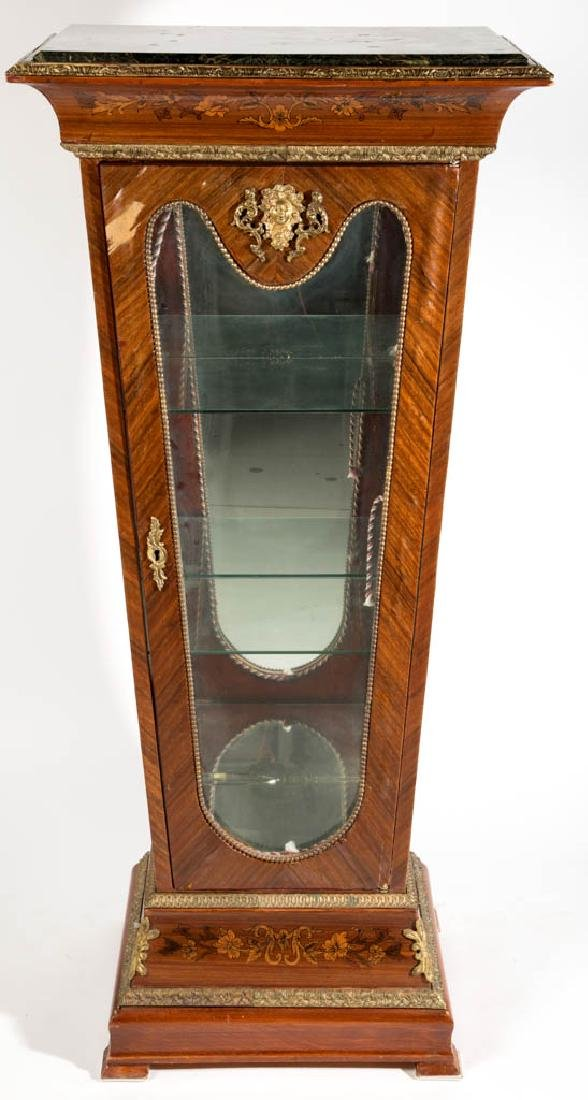 CONTINENTAL LOUIS XV-STYLE MARQUETRY-INLAID VITRINE
