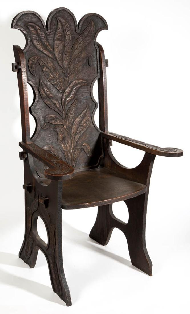ENGLISH ARTS & CRAFTS CARVED OAK ARM CHAIR