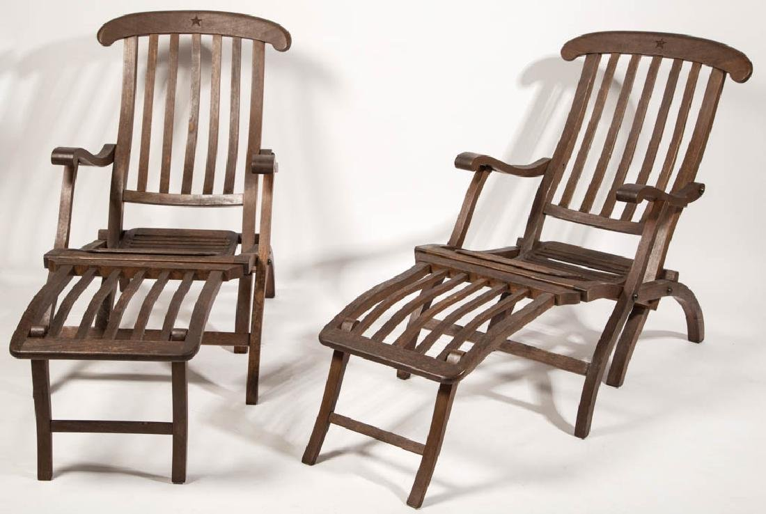 PAIR OF VINTAGE TEAKWOOD FOLDING DECK LOUNGE CHAIRS