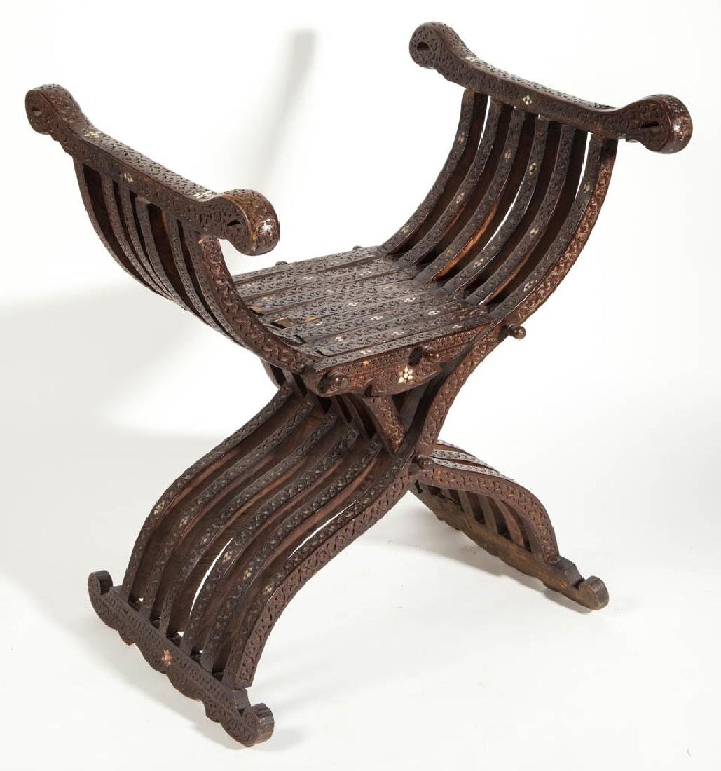 NORTH AFRICAN INLAID HARDWOOD SAVONAROLA CHAIR