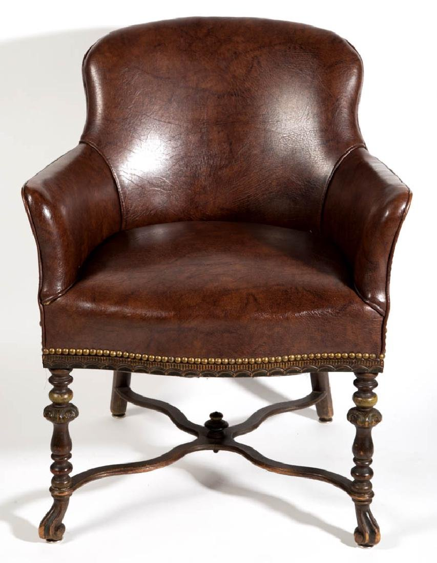 SPANISH-STYLE LEATHER ARM CHAIR