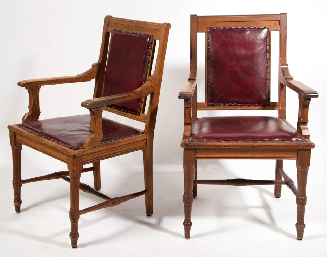 COURTHOUSE-STYLE OAK ARM CHAIRS, PAIR