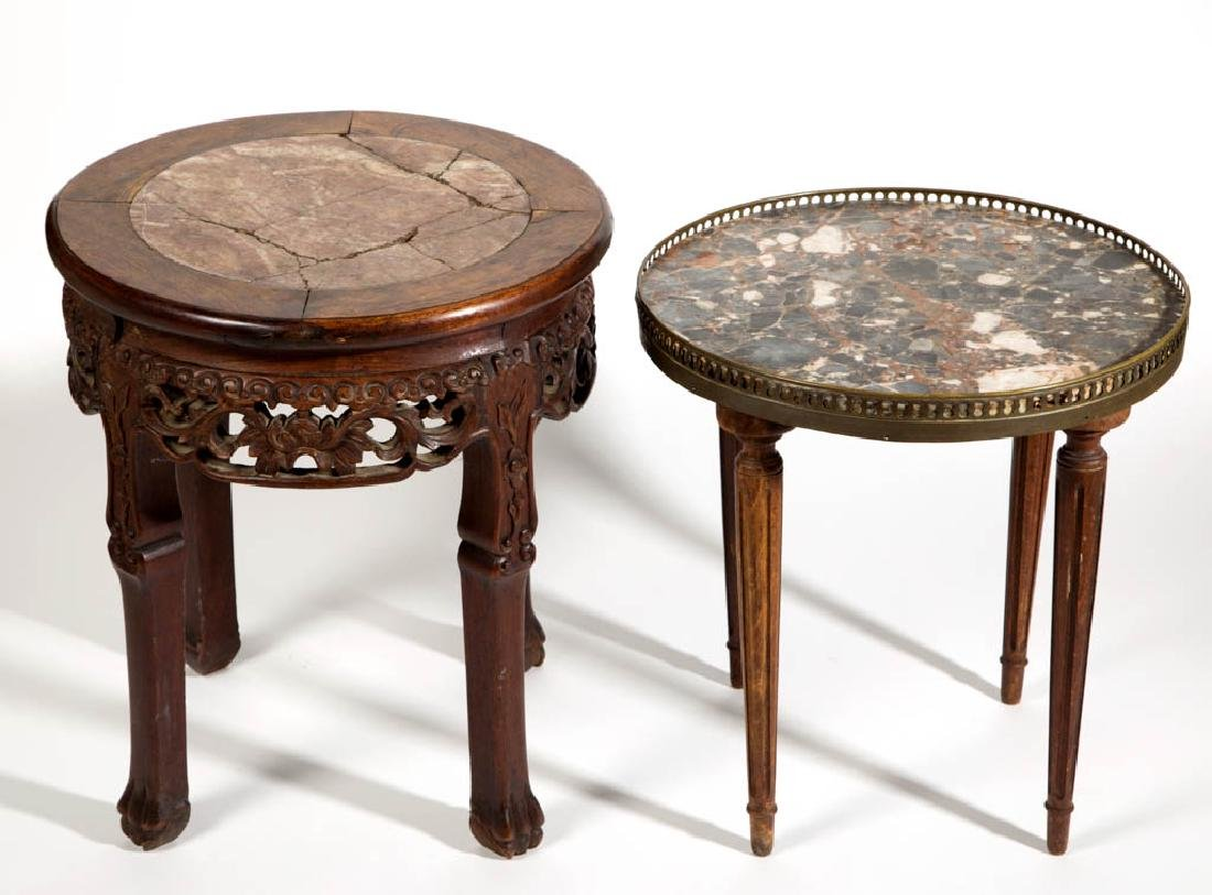 ASSORTED MARBLE-TOP OCCASSIONAL TABLES, LOT OF TWO