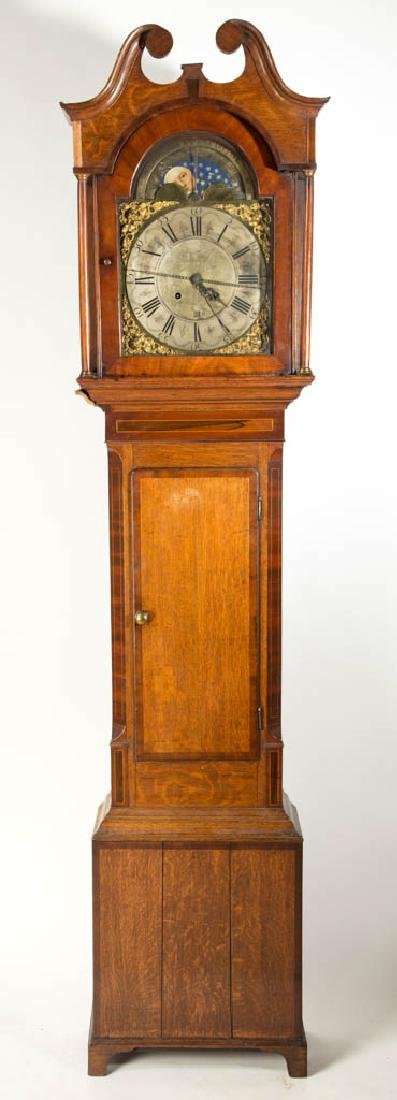 ENGLISH OAK AND MAHOGANY INLAID TALL-CASE CLOCK