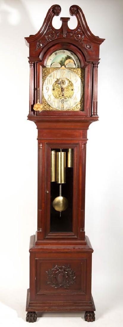 WINTERHALDER & HOFMEIER GERMAN MAHOGANY TALL-CASE CLOCK