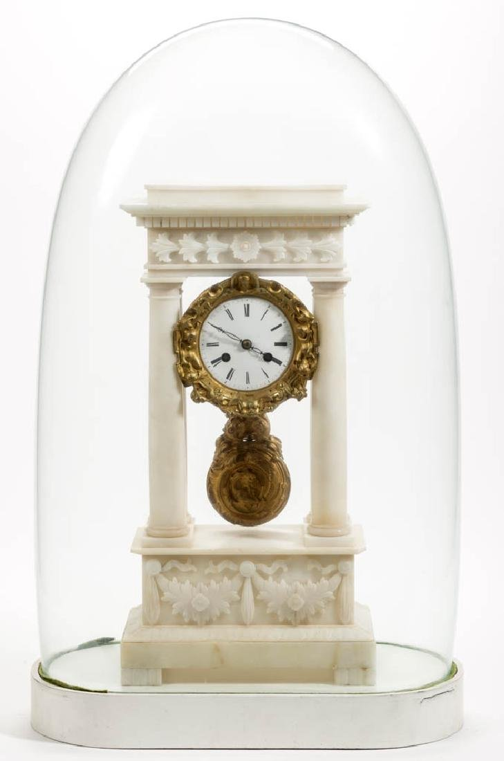 FRENCH JAPY FRERES MARBLE PORTICO MANTLE CLOCK