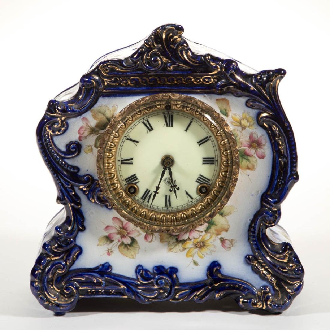ANSONIA CHINA-CASE SHELF CLOCK