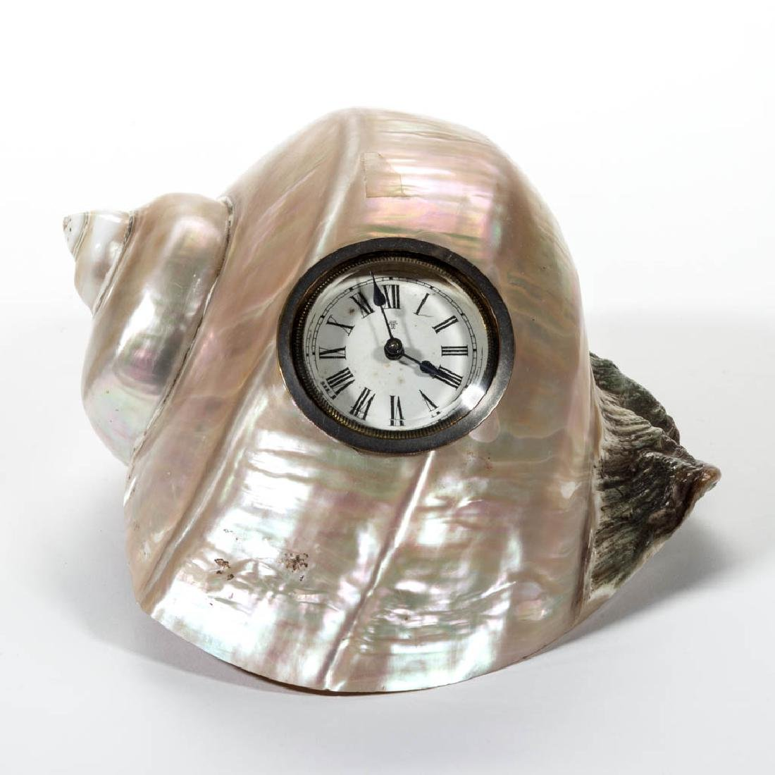 MOTHER-OF-PEARL SEASHELL DESK CLOCK