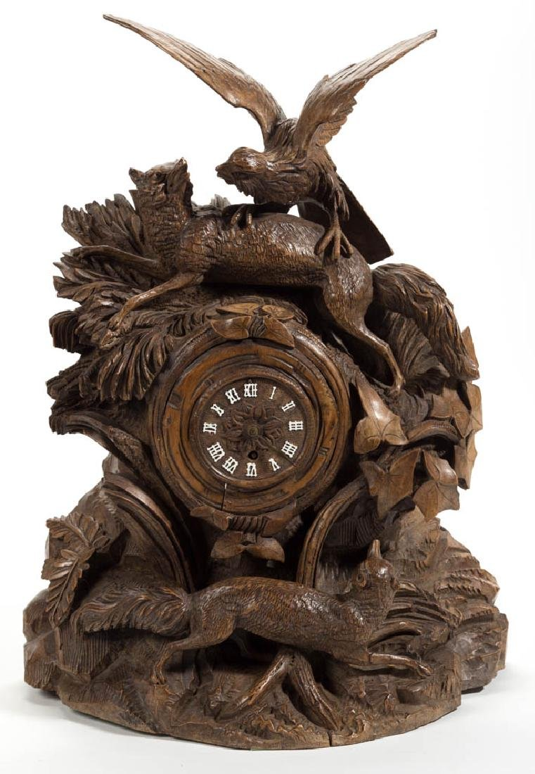 GERMAN BLACK FOREST STYLE FIGURAL MANTLE CLOCK