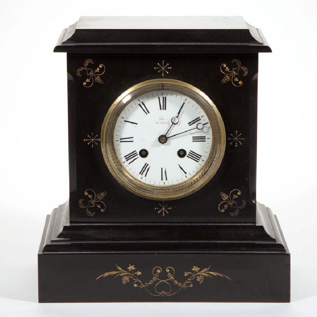 JAPY FRERES FRENCH SLATE MANTLE CLOCK