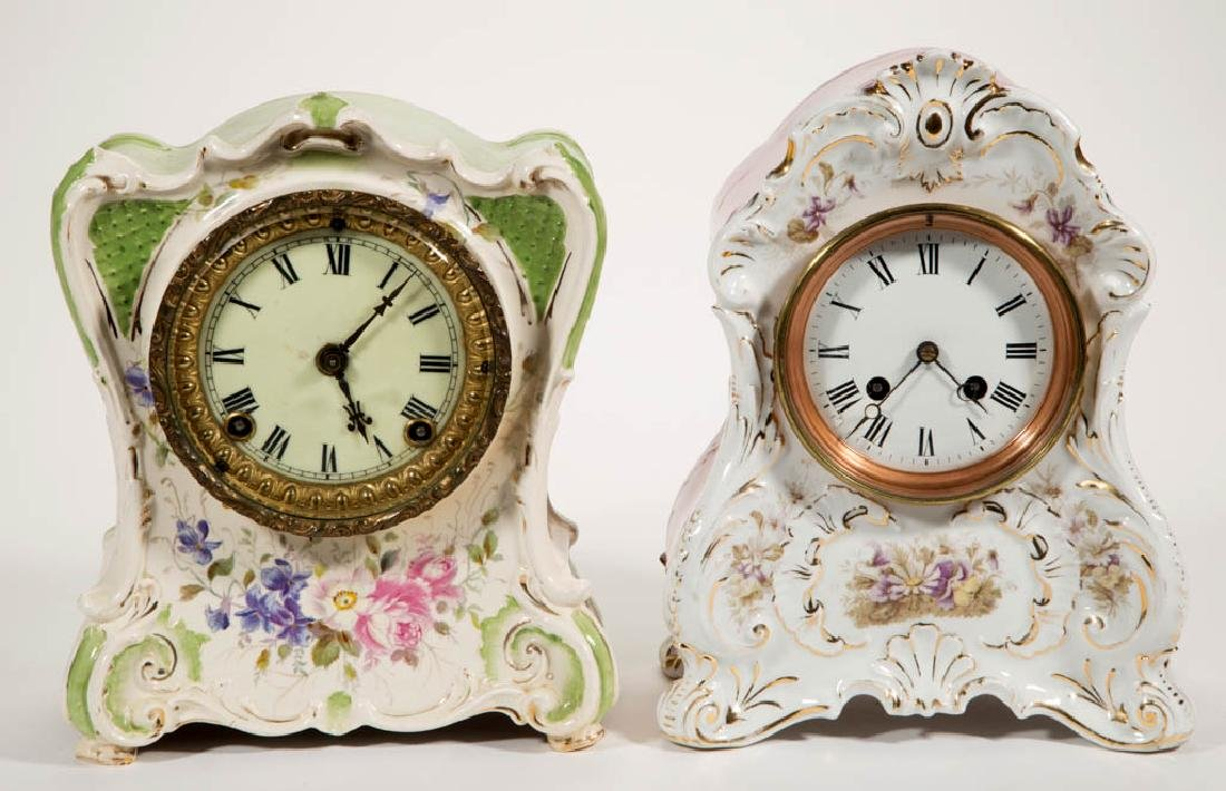 ASSORTED CHINA-CASE SHELF CLOCKS, LOT OF TWO