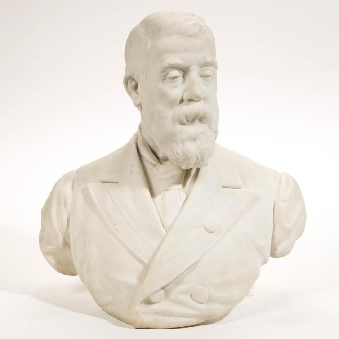ITALIAN CARVED MARBLE BUST OF A GENTLEMAN