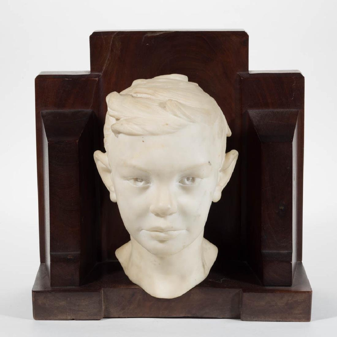 AMERICAN OR EUROPEAN CARVED MARBLE BUST OF A BOY