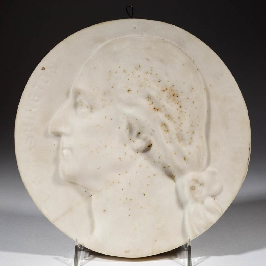 CARVED MARBLE WALL PLAQUE OF GEORGE WASHINGTON