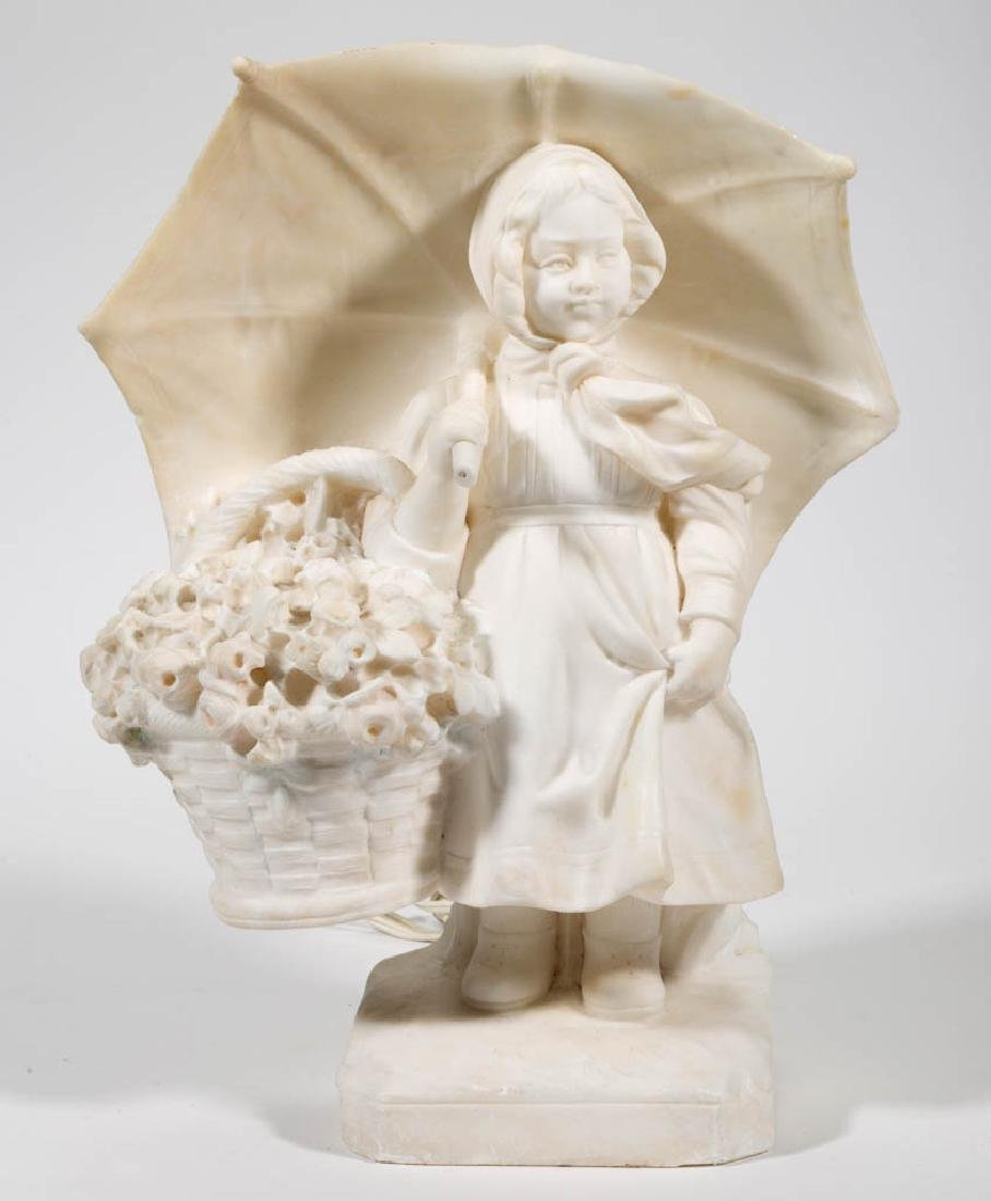 ITALIAN CARVED MARBLE STATUE LAMP