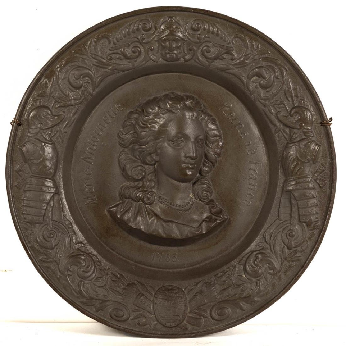 CONTINENTAL CAST-IRON WALL PLAQUE OF MARIE ANTOINETTE