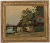 PAUL EMILE LECOMTE FRENCH 18771950 RIVER SCENE