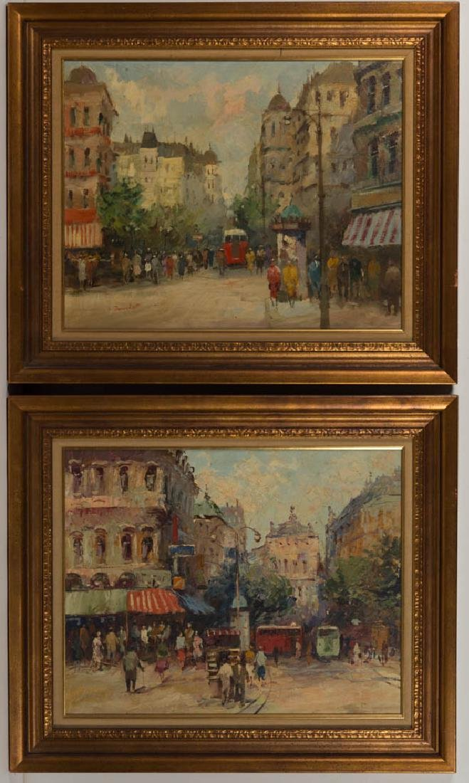 PAIR OF FRENCH SCHOOL (20TH CENTURY) STREET SCENES