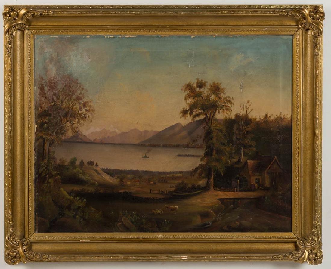 EUROPEAN SCHOOL (19TH CENTURY) FOLK ART LANDSCAPE