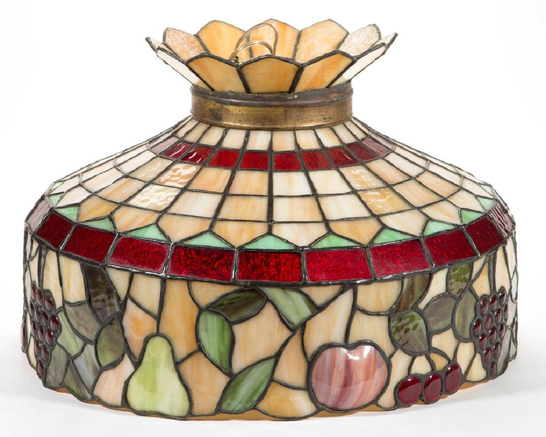 VINTAGE HANGING FRUITS LEADED GLASS HANGING LAMP