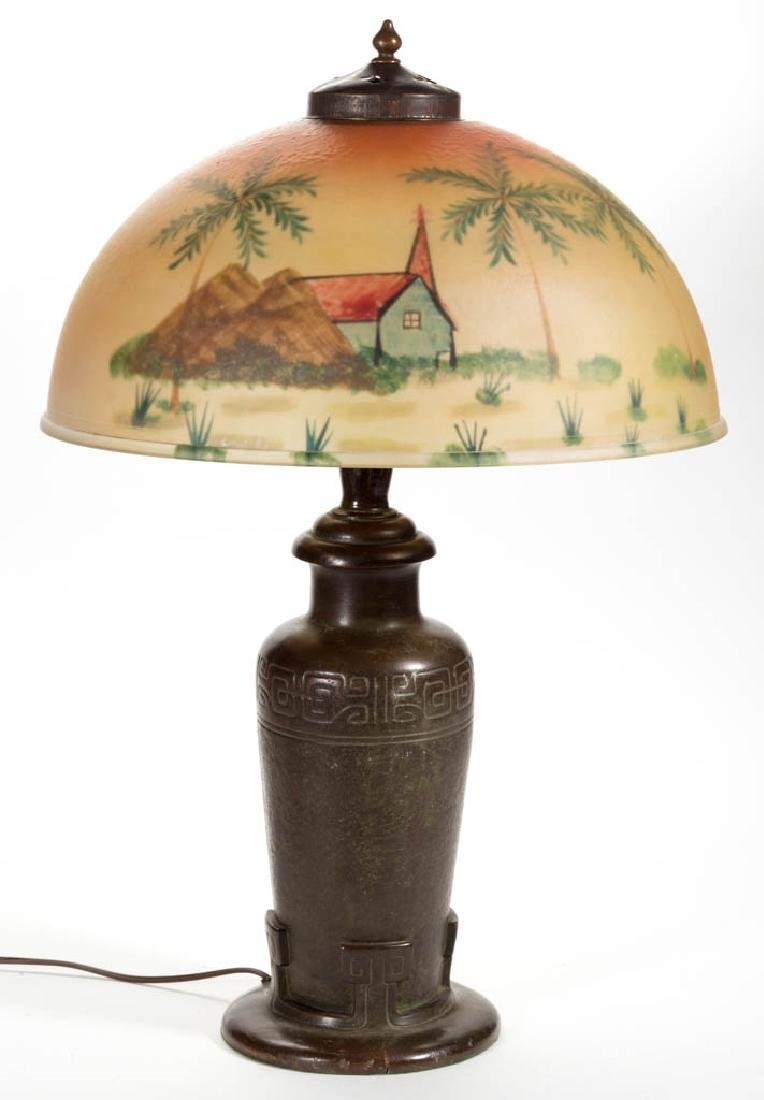 HANDEL REVERSE PAINTED GLASS TABLE LAMP