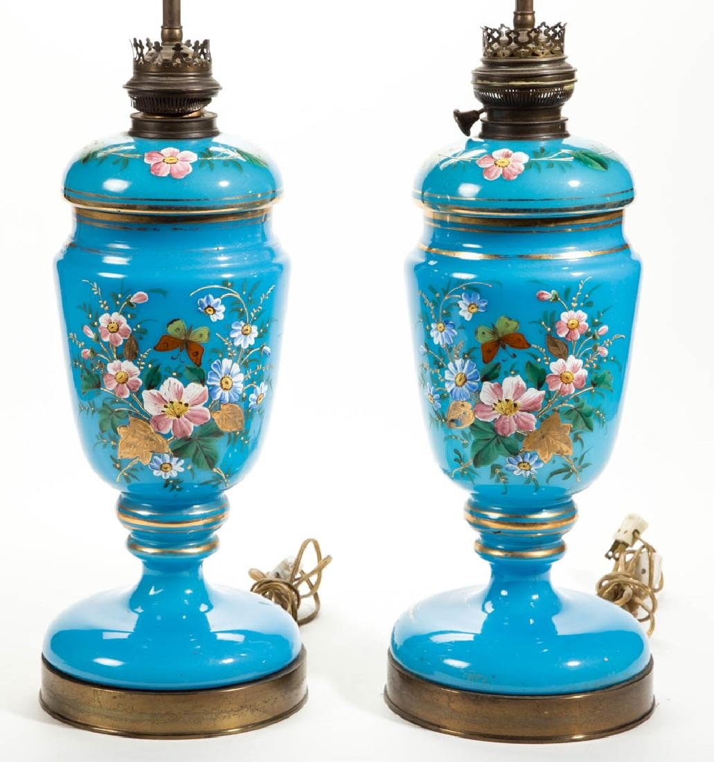 EUROPEAN OPALINE AND ENAMEL-DECORATED PAIR OF LAMPS