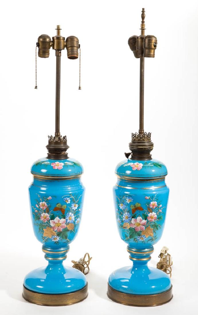 EUROPEAN OPALINE AND ENAMEL-DECORATED PAIR OF LAMPS - 2