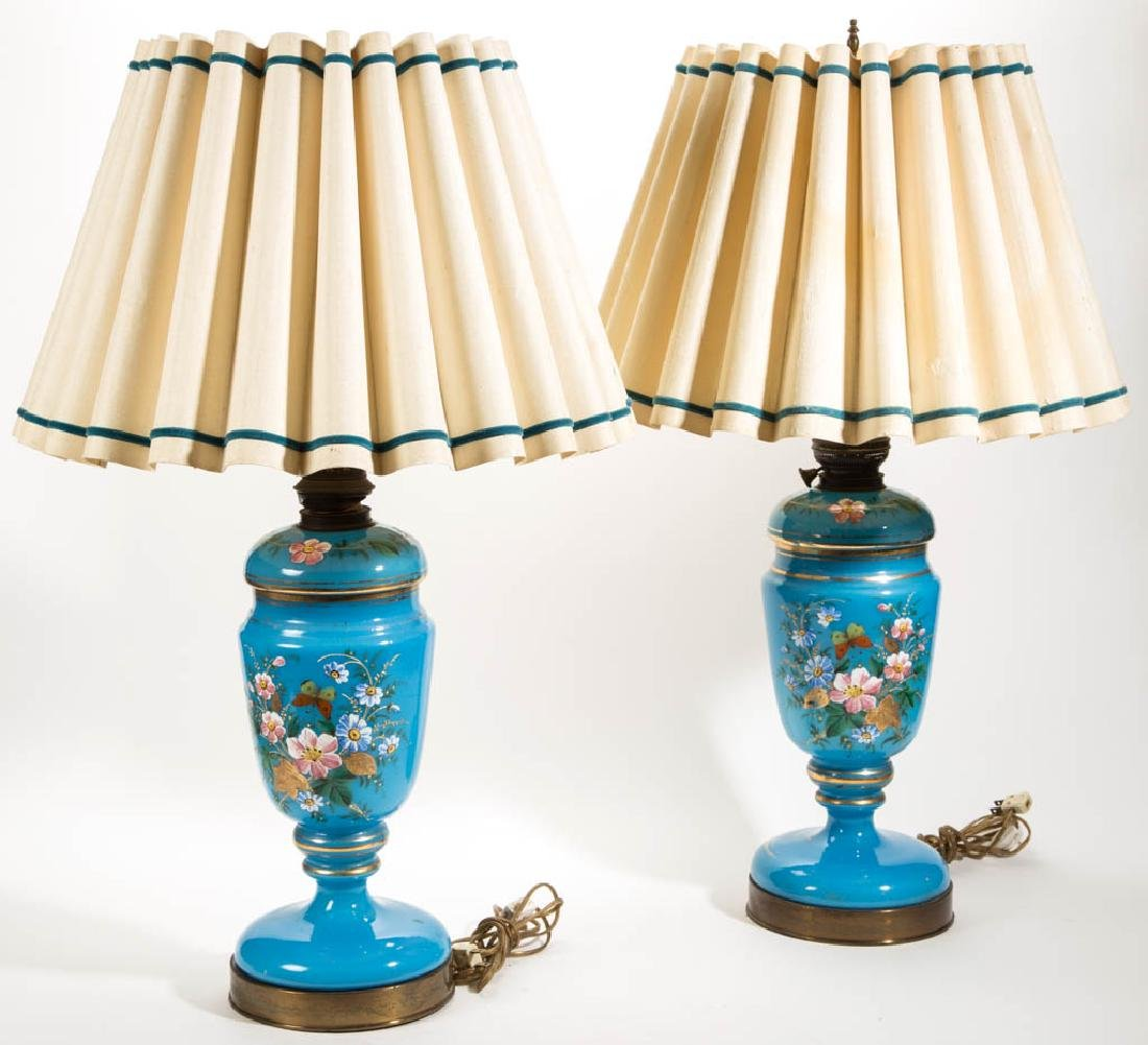 EUROPEAN OPALINE AND ENAMEL-DECORATED PAIR OF LAMPS - 3