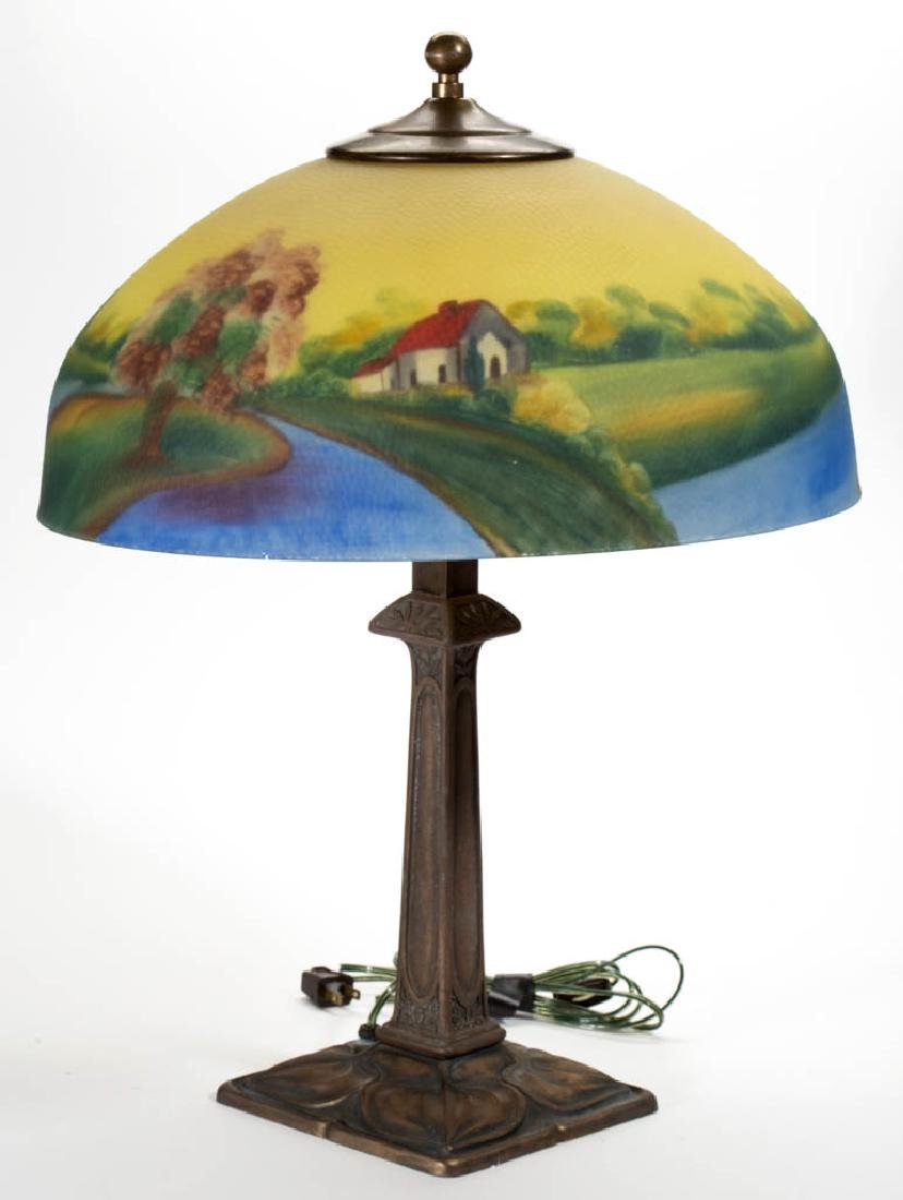 REVERSE PAINTED ELECTRIC TABLE LAMP