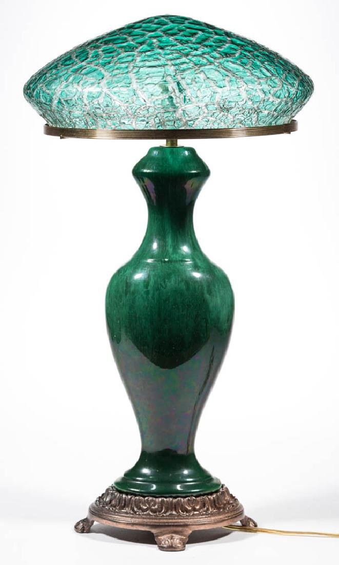 DURAND-STYLE CRACKLE ART GLASS TABLE LAMP