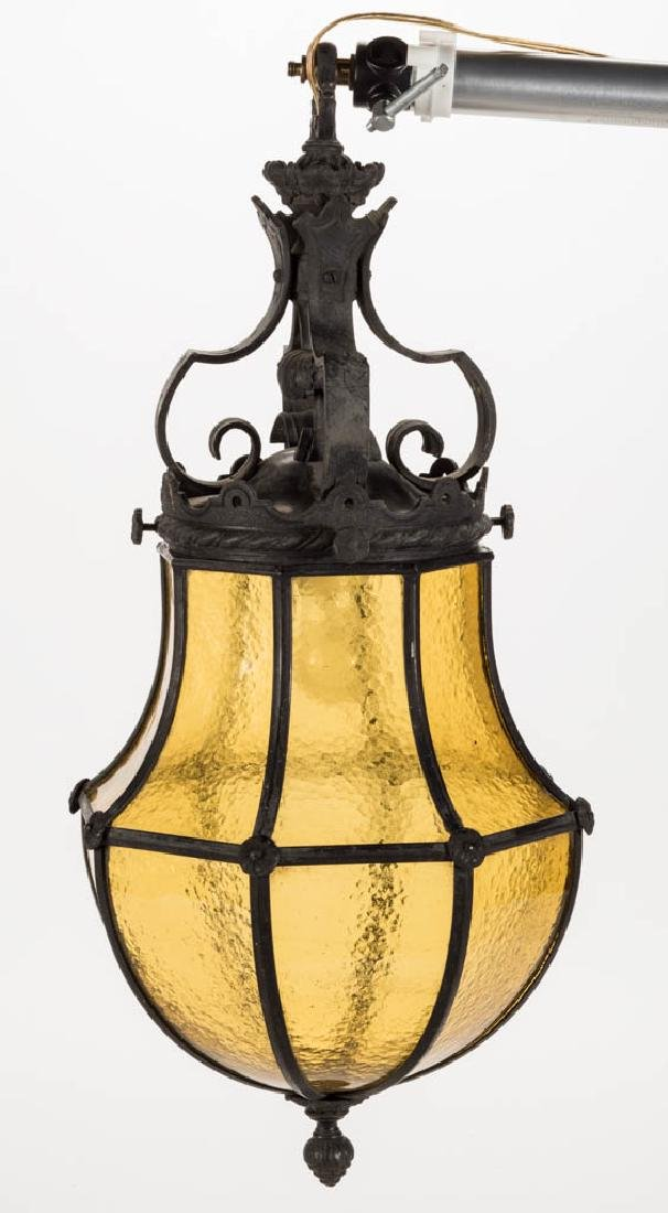 METAL GOTHIC-STYLE AND TEXTURED GLASS HANGING LAMP